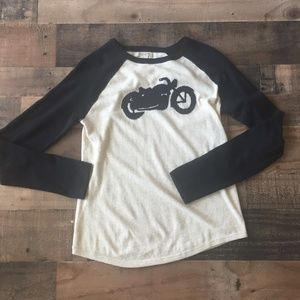 Lucky Brand Motorcycle Graphic Knit Sweater Black